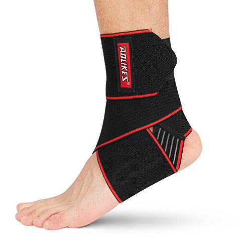 WATERFLY Ankle Brace Support, Anti-Slip Breathable Elastic Compression Wrap Adjustable Ankle Bandage for Sports for Men Women Ankle Wrap