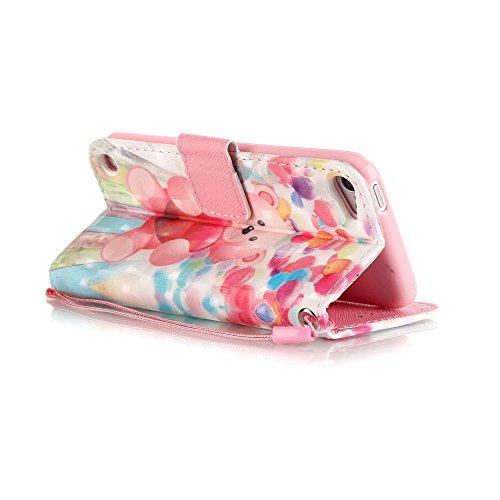 iPhone SE Hülle,iPhone 5 5S Leder Flip Case,TOYYM 3D Cherry Blossom Bäume Muster Folio PU Flip Cover Brieftasche Wallet Case Ledertasche Handyhülle Tasche Case Schutzhülle Hülle Etui im Bookstyle mit  Bär