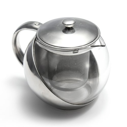 Water & Wood New 500ml Stainless Steel Glass Teapot with Herbal Loose Leaf Tea Infuser
