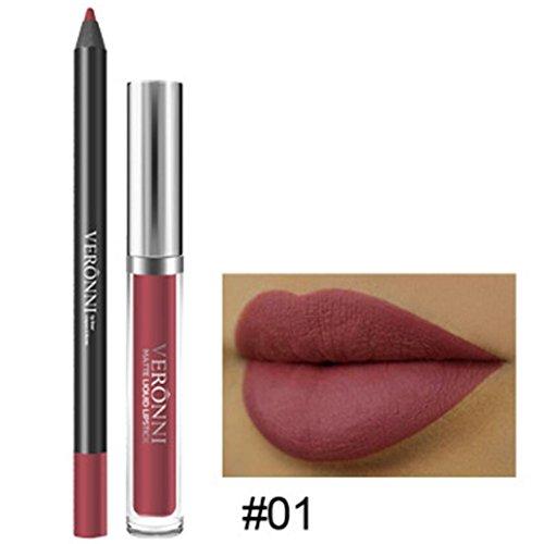 Rouge à Lèvres, Tefamore Longue Durée de Rouge à Lèvres Imperméable à L'Eau Mat Liquide Gloss Lip Liner Set de cosmétiques (1#)