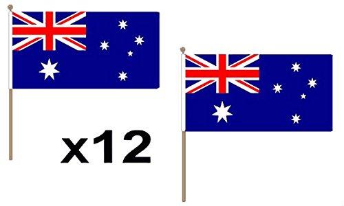 12Stück (22,9x 15,2cm) Australien Hand Waving Flaggen aus Holz 30cm Pole ideal für Party Konferenzen Büro Display