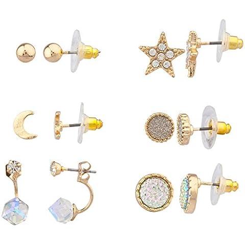 Lux accessori oro stella Multi Orecchini Set