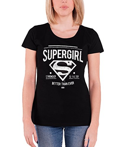 Supergirl - Stronger & Faster dames T-shirt zwart - Superhelden merchandise strips (Attitude Kids Sweatshirt)