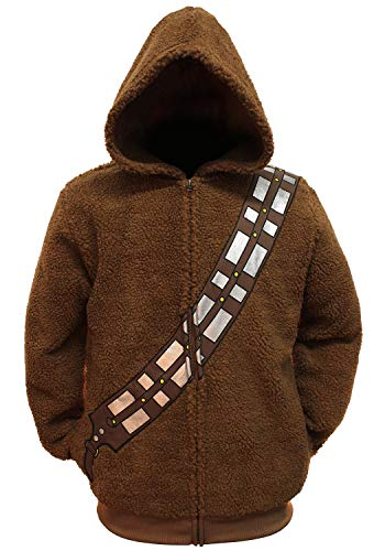 Star Wars Chewbacca Mens Brown Lightweight Zip Hoodie Sweatshirt