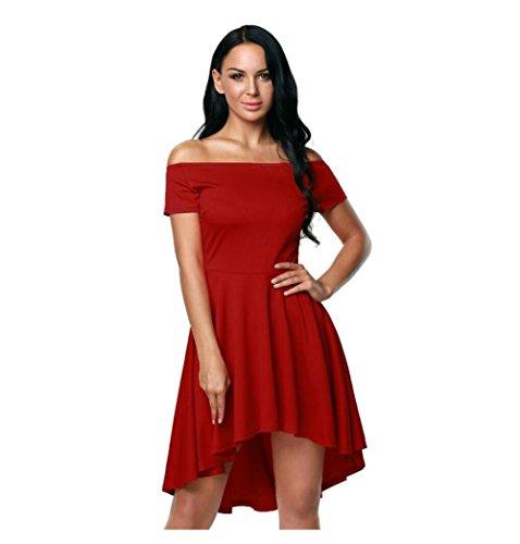 GJX Europe et les États-Unis Fashion Robe élégante col manches courtes Irregular Mini Dress e
