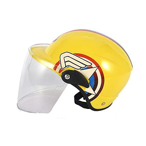 WOSAWE Casco Moto Bambini Half Bike Helmets con Visiera Antigraffio per Pattini A Rotella Bicicletta Hoverboard Skateboard e Altri Sport Estremi (Transparent Lens Yellow 1)