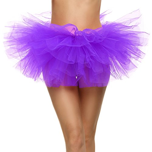 SRANDER Damen Tüllrock Tütü Tutu Petticoat 5 Schicht Ballet Tutu Tanz Röcke Einheitsgröße (Halloween-kostüm Unglaublichen Violett)