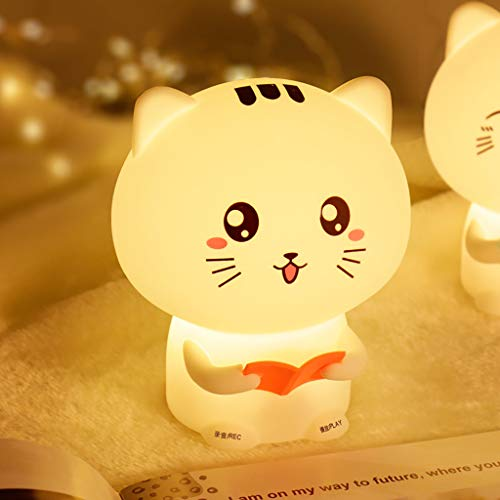 Tianya LED-Licht ★ Eine glückliche Katze leuchtet Nachtlicht USB aufladbare Nachttischlampe
