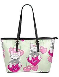 5d3c281d462ce Französische Bulldogge Freund Hund Große Weiche Leder Tragbare Top Hand  Totes Taschen Kausale Handtaschen Mit Reißverschluss Schulter…