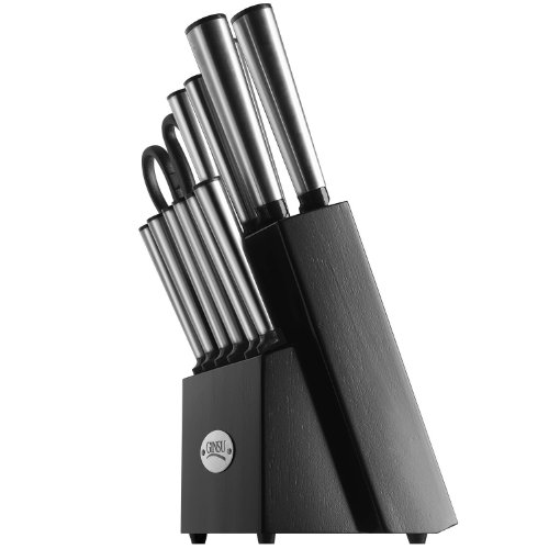 Ginsu Koden Series 14-Piece Stainless Steel Serrated Knife Set – Cutlery Set with Stainless Steel Kitchen Knives in a Black Block, 05202DS
