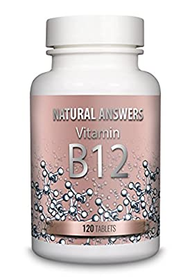 Vitamin B12 Methylcobalamin 1000mcg by Natural Answers - 120 Tablets - 4 Month Supply - Small 6mm Pills Not Capsules - UK Manufactured by Natural Answers