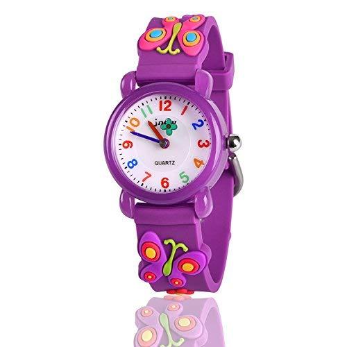 Ouwen Einzigartiges Design 3D Niedlichen Cartoon Kinder wasserdicht Uhr (Butterfly)
