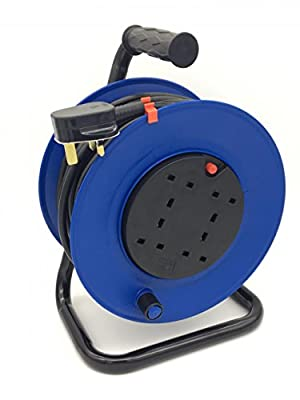 50m Metre Extension Reel Lead Cable 4 Way Electric Socket Heavy Duty
