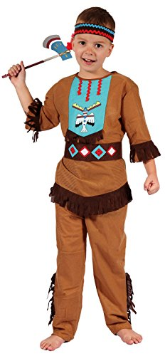 Magicoo Indianer Kostüm Kinder Jungen mit Kopfschmuck Größen 110 bis 140 - Fasching Kostüm Indianer Junge (122/128)