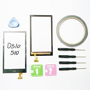 JRLinco Neu Display Scheibe Touchscreen Digitizer Glass Ersatz Für HTC Desire 510 D510 Schwarz + Werkzeug & klebende +Cleaning alcohol Wiping package