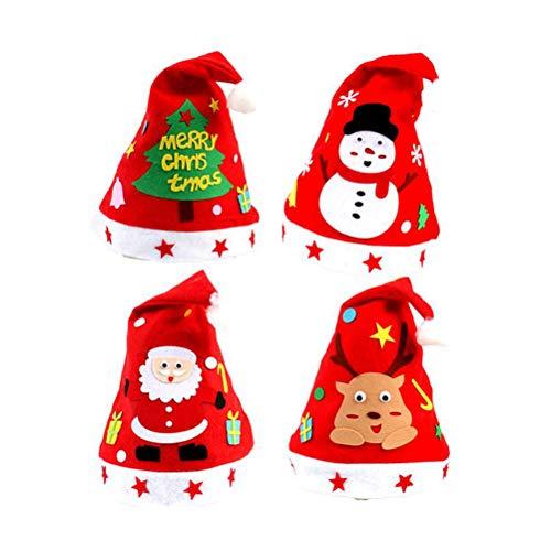 PRETYZOOM 4 stücke Weihnachten Cartoon Cap Neuheit Lustige Rote Nette Handmake DIY Klebstoff Vliesstoff Hut Party Dekoration Lieferungen (Deerlet, Schneemann, Alter Mann, Baum)