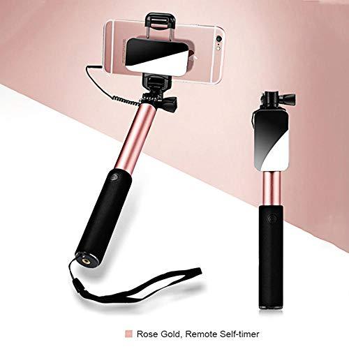 YWSZY Selfie Stick Faltbarer Spiegel Einbeinstativ Mit Kabel Erweiterbar Für iPhone X 8 7 6 6S Plus Für Xiaomi Für Samsung Für Huawei Für Android @ Rose_Gold