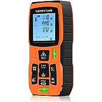 Lomvum Telémetros láser, 50M Medidor de Distancias Digital,Metro Láser con precisión 2mm, Niveles de Burbuja, Medición de Distancia Min/MAX, Área, Volumen, Continua, Pitágoras