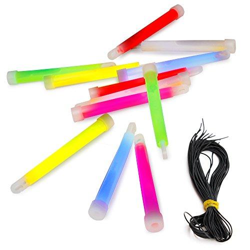 100 Power-Knicklichter im 4-Farb-Mix mit Haken und Band, sehr robust und lange leuchtend   stabiles und dickes Outdoor-Knicklicht