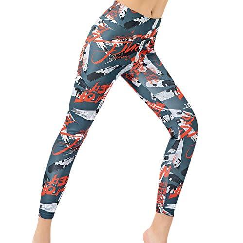 chen Damen Anime Graffiti Slogan Muster Print Druck Long Lang Jogger High Waist Dünn Skinny Stretch Fitness Sporthosen Yoga Workout Laufhose (S,Grau) ()