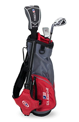 "U.S. Kids Golf Ultra Light 39"" Height, 3 Club Carry Golf Set with Bag, Grey/Red, Right Hand"