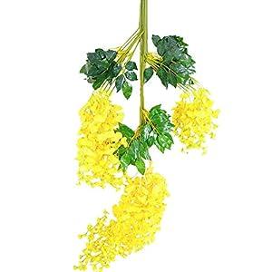 Set de 12 plantas (102 cm) artificiales glicinias de seda colgante para decoración, enredadera de flores colgantes de…