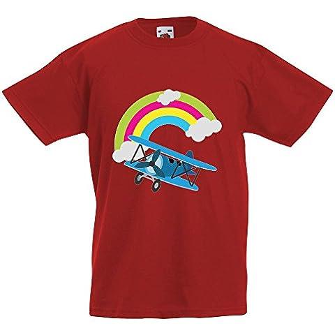 Bambini Collezione 207, Fruit of the Loom Valueweight Tee Rosso Bambino Ragazzo Maglietta Kids Boys Stampa T-Shirt. Taglia 92 98 104 116 128 140 152 164, 1-15