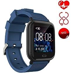Ayete Smartwatch Fitness Tracker con frecuencia cardíaca Monitoreo de la presión Arterial Salud Deporte Reloj Impermeable IP67 Reloj de Pulsera Cámara remota Pulsera Inteligente (Azul)