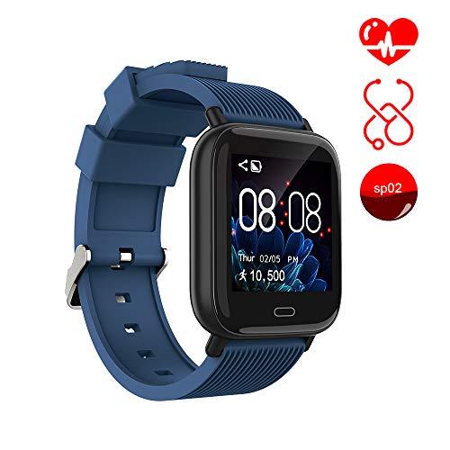 Smartwatch ayete Fitness Tracker con frequenza cardiaca Monitoraggio della pressione sanguigna Health Sport Watch Orologio da polso IP67 impermeabile Telecamera remota Smart Wristband (blu)