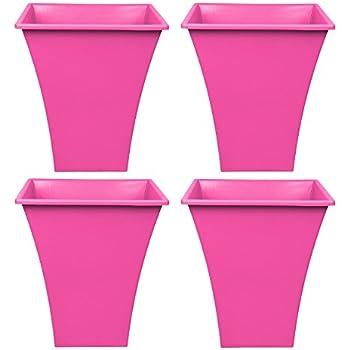 Large 24cm Diameter Hot Pink Ribbed Plant Pot Heavy Duty Plastic Planter