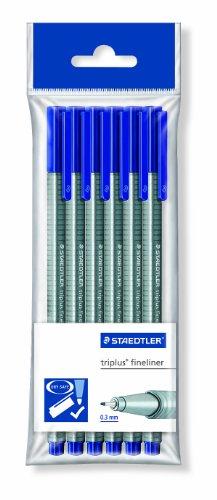 Staedtler 334-3 PB6 triplus Fineliner dreikant, 0,3 mm, 6 Stück blau in Polybeutel