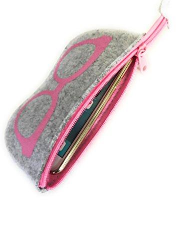 Gütersloher Shopkeeper Premium Tasche Etui Soft Case mit Reissverschluss Geeignet für Brillen Sonnenbrille Oder Handy Apple iPhone 7 - Hülle aus Filz Grau-Pink