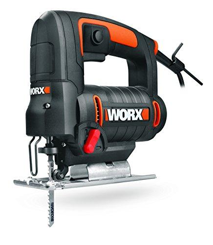 WORX WX477.1 Stichsäge 550W zum Schneiden von Holz, Stahl & Aluminium - ideal für Gehrungsschnitte - Mit integrierter Staubabsaugung, werkzeuglosem Sägeblattwechsel & Koffer