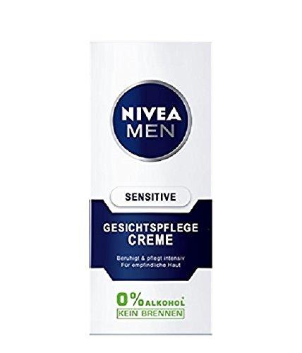 NIVEA Men, Gesichtspflege Creme für Männer, 75 ml Tube, Sensitive, 0% Alkohol