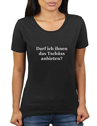 Darf ich ihnen das Tschüß anbieten - Damen T-Shirt von KaterLikoli, Gr. L, Deep Black