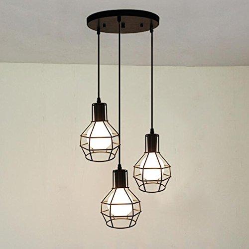 BAYCHEER Lampe Suspensions Lustre Abat-jour en Métal Style Cage Rétro Industriel Eclairage Decoratif 3 Douille