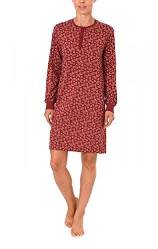 Damen Kurz Nachthemd langarm mit Bündchen und Knopfleiste am Hals 271 213 90 102, Größe:48/50;Farbe:rot -