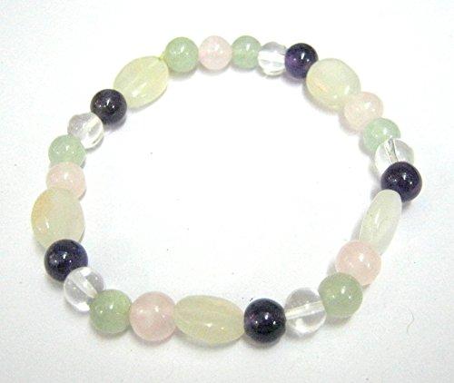 Hermoso cuarzo piedra lunar Amethyst Gemstone pulsera de perlas de moda joyería hombres mujeres regalo potente amor paz prosperidad Meditación Accesorios Cristal Curación Wicca
