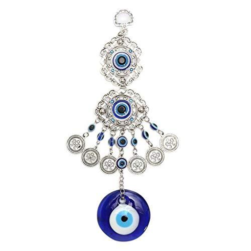 Lily Windspiel im Freien Windspiele Türkei Evil Eye Anhänger Amulett Home Wandbehang Dekor Segen Schutz Geschenk Traumfänger Garten (Color : Blue) (Türkei Dekor Die)
