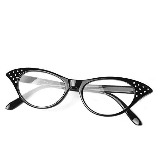 logres Fashion Cat Eye Lesebrille Retro Brille Reader eyewaer Gläser Kunststoff Rahmen + 1.0~ + 3,5(# 001), schwarz