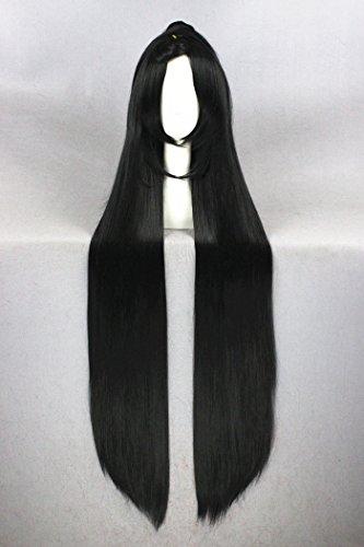 120cm schwarz Farbe lange gerade Cosplay Perücken für toukenranbu/Halloween und Frauen/Mädchen/Damen-Tägliche Fashion (Stil Perücken Schwarze Haare)