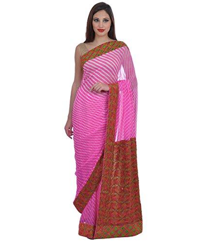 Pink Leheriya and Hand Embroidered Phulkari Saree