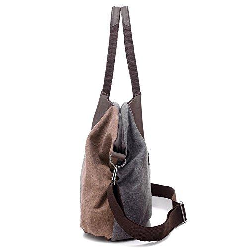 SODIAL Damen Handtasche Vintage Umhaengetasche Canvas Retro Schultertasche Braun Rot