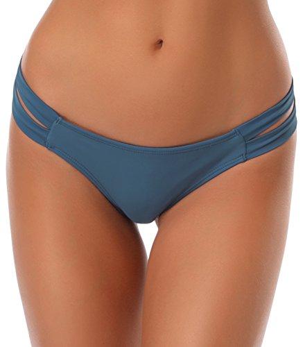 SHEKINI Damen Niedrige Taille Bikini Bottom Bademode Tanga Bikinihose String Rüschen Brazilian Bikini Slip (Large, Fairy Blau) (Bikini-höschen)