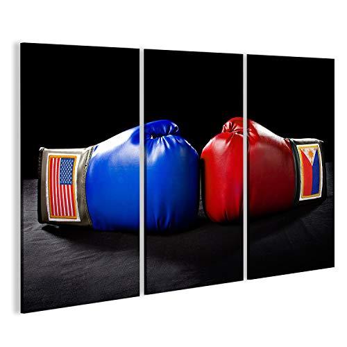 Cuadro Cuadros guantes de boxeo o artes marciales engranaje sobre un fondo negro Impresión sobre lienzo - Formato Grande - Cuadros modernos ICU