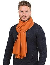 Écharpe tissée à la main mérinos sergée orange