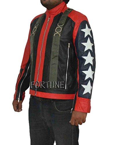 U2Bono 5Sterne auf seleeves stylische Slim Fit Schaf Leder Jacke Gr. XL, schwarz/rot