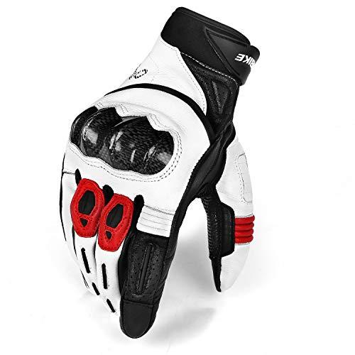 INBIKE Motorradhandschuhe Herren Winter Motorrad handschuhe Touchscreen Warm Winddicht Atmungsaktivität Knöchelschutz Aufprallschutz Wasserdicht für Motorrad Radfahren Camping Outdoor(Weiß&Rot,L)