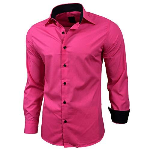 Kontrast Business Anzug Freizeit Polo Slim Fit Figurbetont Hemd Langarmhemd R-44, Farbe:Pink;Größe:XL (Rosa Slim Fit Hemd)