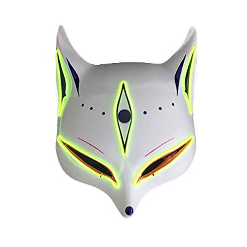 Kostüm Nacht Mann - Clluzu Party Maske LED Glow Away von menschlichen Fuchs Maske Halloween Karneval Nacht Ghost Dance Katze Gesicht Männer und Frauen 20 * 25 cm